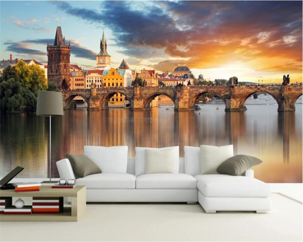 beibehang Custom wallpaper 3d photo mural beautiful European architecture background wall waterfront city landscape 3d wallpaper image