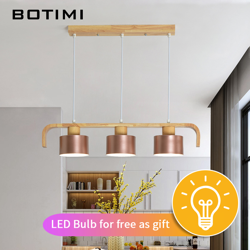 BOTIMI современный светодиодный подвесной светильник с металлическим абажуром для столовой деревянный подвесной светильник E27 деревянный кухонный светильник - 2