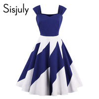 Sisjuly Women Vintage Dress Summer Geometric Patchwork Print Spaghetti Strap Elegant Ladies Vintage Sexy Dresses 2018new