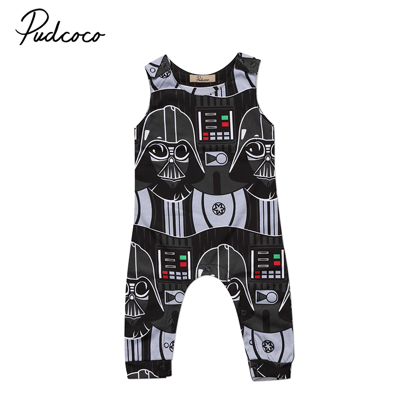 Pudcoco Fashion Newborn Toddler Kids Boy Clothing Sleeveless Darth Vader Cotton Romper Jumpsuit Outfit Clothes 0-3Y
