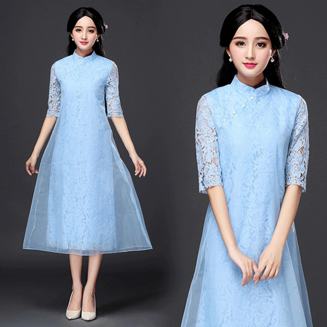 2017 Ao Dai Modern Chinese Qipao Fashion Design Charming Cute Elegant Lace See Through Dress Long Vintage Cheongsam Wedding