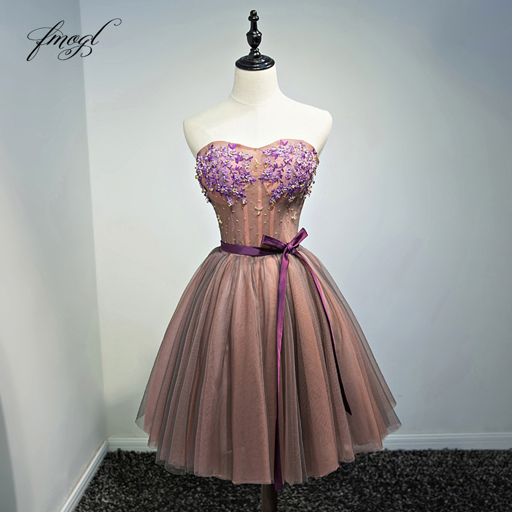Fmogl Flowers Strapless Knee Length Cocktail Dresses 2019 Beading Embroidery Special Occasion Dress Short Dress For Party