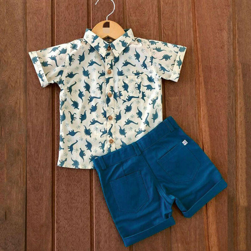 1-6Years 2Pcs Infant Dinosaur Baby Boys Kid Summer Clothes Tee T-shirt Top+Short Pants Toddler Baby Boy Outfits Set(China)