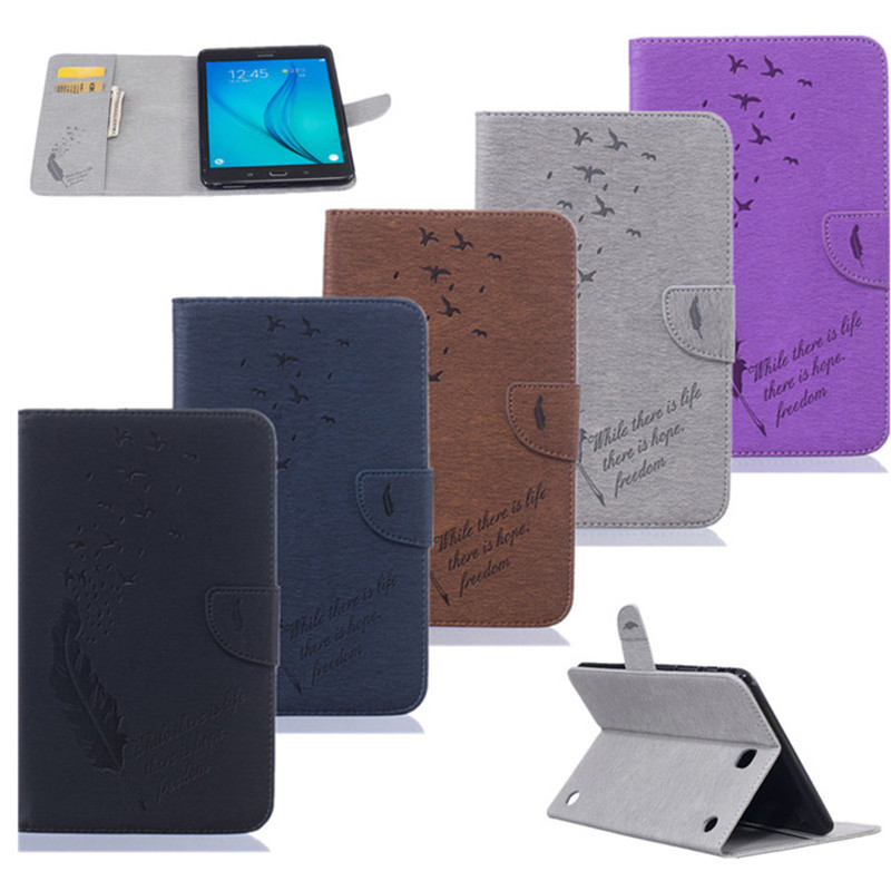 Fashion Plume Print PU Leather Flio Book Style Case For Samsung Galaxy Tab A 8.0 T350 T355 SM-T355 8