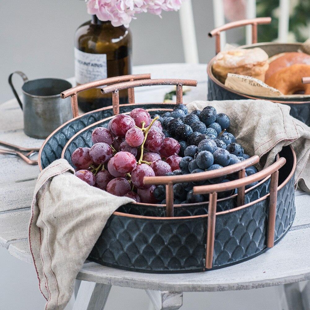 Scandinavian Metal Storage Basket with Handles Iron Vintage Elegant Luxury Desk Storage Organizer Decor Fruit Basket