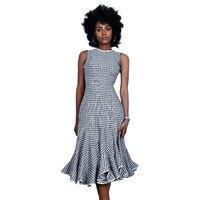 2017 Vintage אביב סתיו הנשים Midi שמלה לפרוע אופנה O צוואר משובץ נקבה Vestidos רטרו כותנה בנות Ml XL 2XL