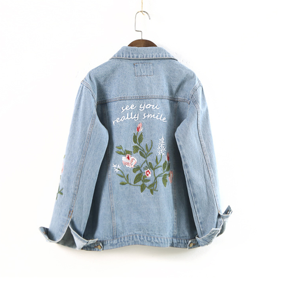 Bottom Pocket Flower Embroidery Women   Basic     Jackets   Coats 2017 Spring Jeans   Jacket   Women Denim Outwear Women 2018 New Arrival