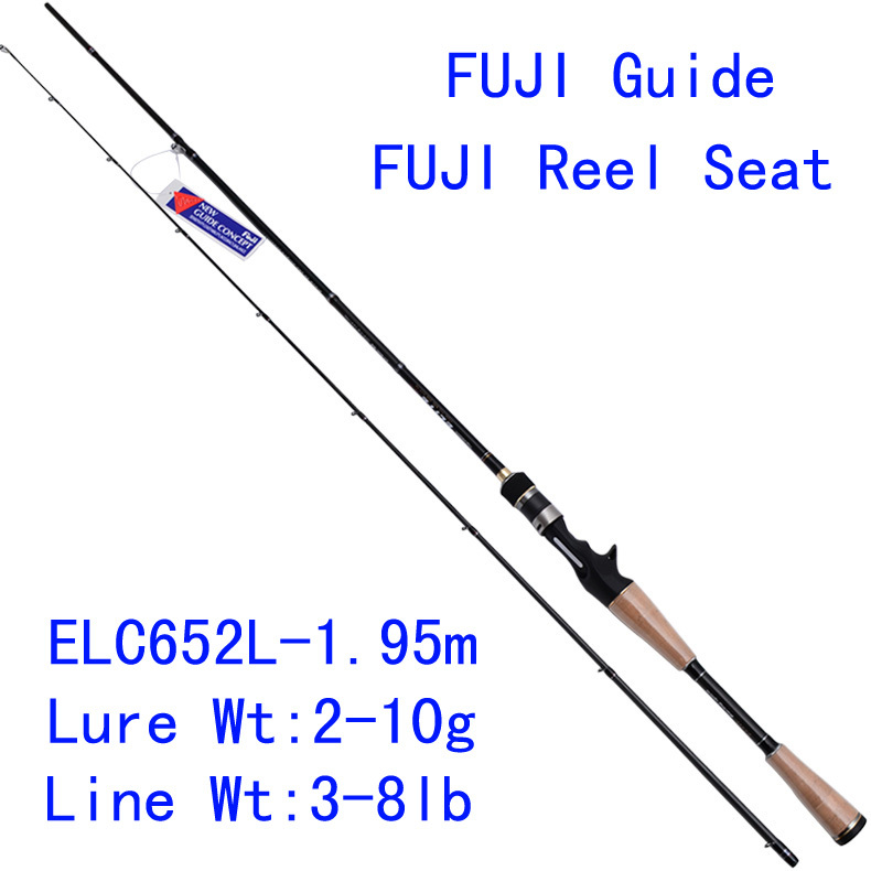 Tsurinoya Elite ELC-652L 1.95m Carbon Bait Casting Fishing Rod  L Power Fuji Accessories Match Fishing Rod Micro Guide Bass Rod elc динозавр ти рекс