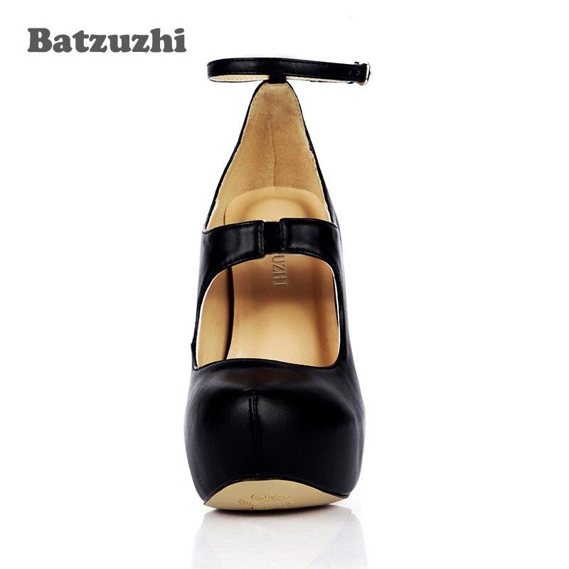 14 Batzuzhi Klassische Frauen F Runde Heels Platfrom Sexy Kappe Schnalle Schuhe Pumpen Cm Leder Schwarz 9HWIED2