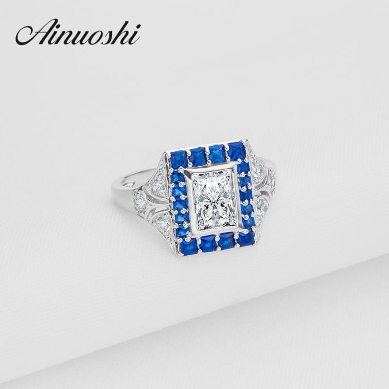 Ainoushi синий камень Halo Кольцо стерлингового серебра 925 Для женщин квадратный Свадебные Кольца имитация Bague женщин любителей Обручение кольцо