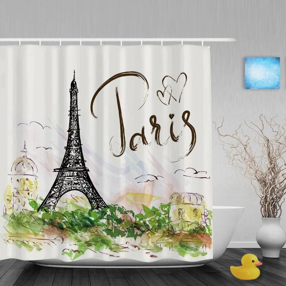 Eiffel Tower Hand Written Paris Bathroom Shower Curtains Paris City Scene Shower Curtain Waterproof Polyester Fabric With Hooks