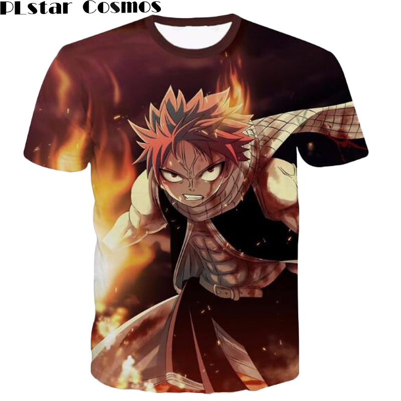 PLstar Cosmos Mens Harajuku tee shirts Classic Anime Fairy Tail T-shirts Hipster 3D t shirt Etherious Natsu Dragneel Characters