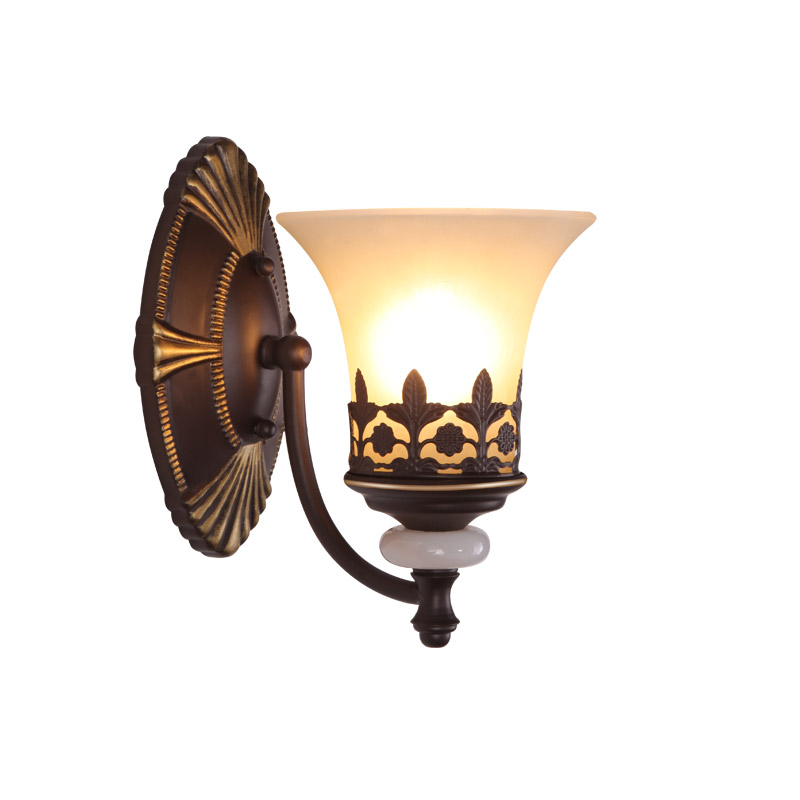 Iron Pipe Vintage Wall Lamps Bedroom Bedside Stair Loft style Sconce White Glass Lampshade Decor Wall Light For Home luminaire недорго, оригинальная цена