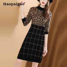 S-XXL Plus Size Print Knitted Dress Women O-neck Slim Plaid Office Dress Women Leopard Dresses Elegant Women Vestido Festa stylish women s evening bag with leopard print and plaid design