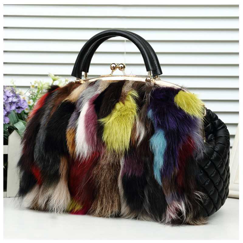 New Winter Fox Fur Handbag Designer handbags high quality Tote bag women Multicolour Fur Bags Women's Shoulder Messenger Bags women messenger bags designer handbags high quality 2017 new belt portable handbag retro wild shoulder diagonal package bolsa