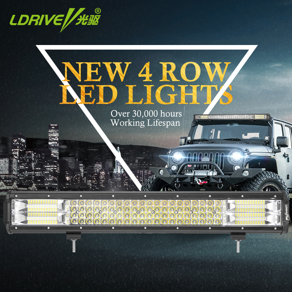 LDRIVE 20 384W 4 Row LED Bar 4X4 4WD Trains Boat ATV UTV UTB Boat SUV Driving Fog Light For Jeep Wrangler Land Cruiser 12V 24V auxmart 22 led light bar 3 row 324w for jeep wrangler jk unlimited jku 07 17 straight 5d 400w led light bar mount brackets