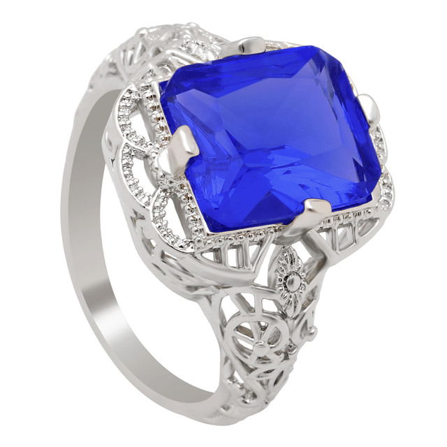 zirconia rings for women Luxury Hollow Square Royal Blue CZ promise