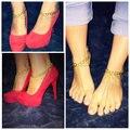 Frete grátis, Moda de nova corrente de ouro com sandálias pé jóias tornozeleira sandálias hippie, Sapatos, ( Duplo ) tornozeleiras