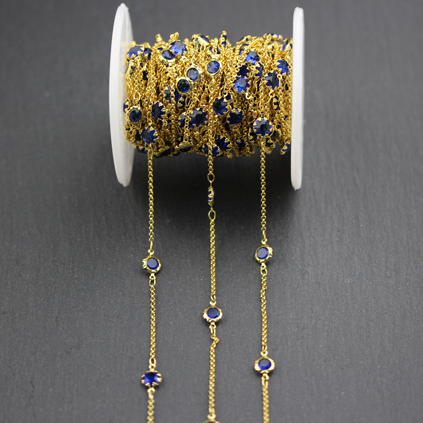 Dark Blue Glass Loose Beads Chains,Flat Coin Shape Bracelet Making,Wire Wrapped Goldedn Plated Flower Edged Links Necklace