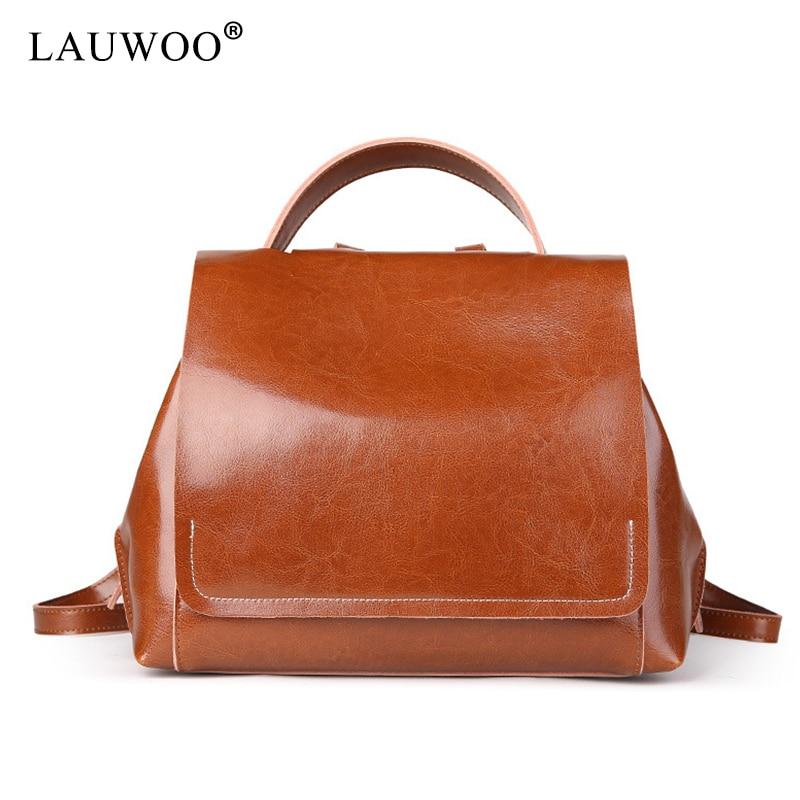 New 2017 Fashion Vintage Brown Oil Wax women Backpack Female Cow Split Leather School Bag for teenage girls Large Capacity крем kora крем лифтинг овал