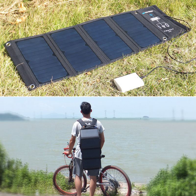 4Pcs 28W Portable Folding Solar Panel Battery Charger 5V 3.5A Solar Cell 3 USB Output Devices Sunpower Solar Cells For Cycling цены онлайн