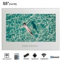 Souria 55 inch Waterproof Sauna Room LED TV Smart IP66 Wall Mounted Bathroom BIG Screen Display (Magic Mirror/ Black Color)