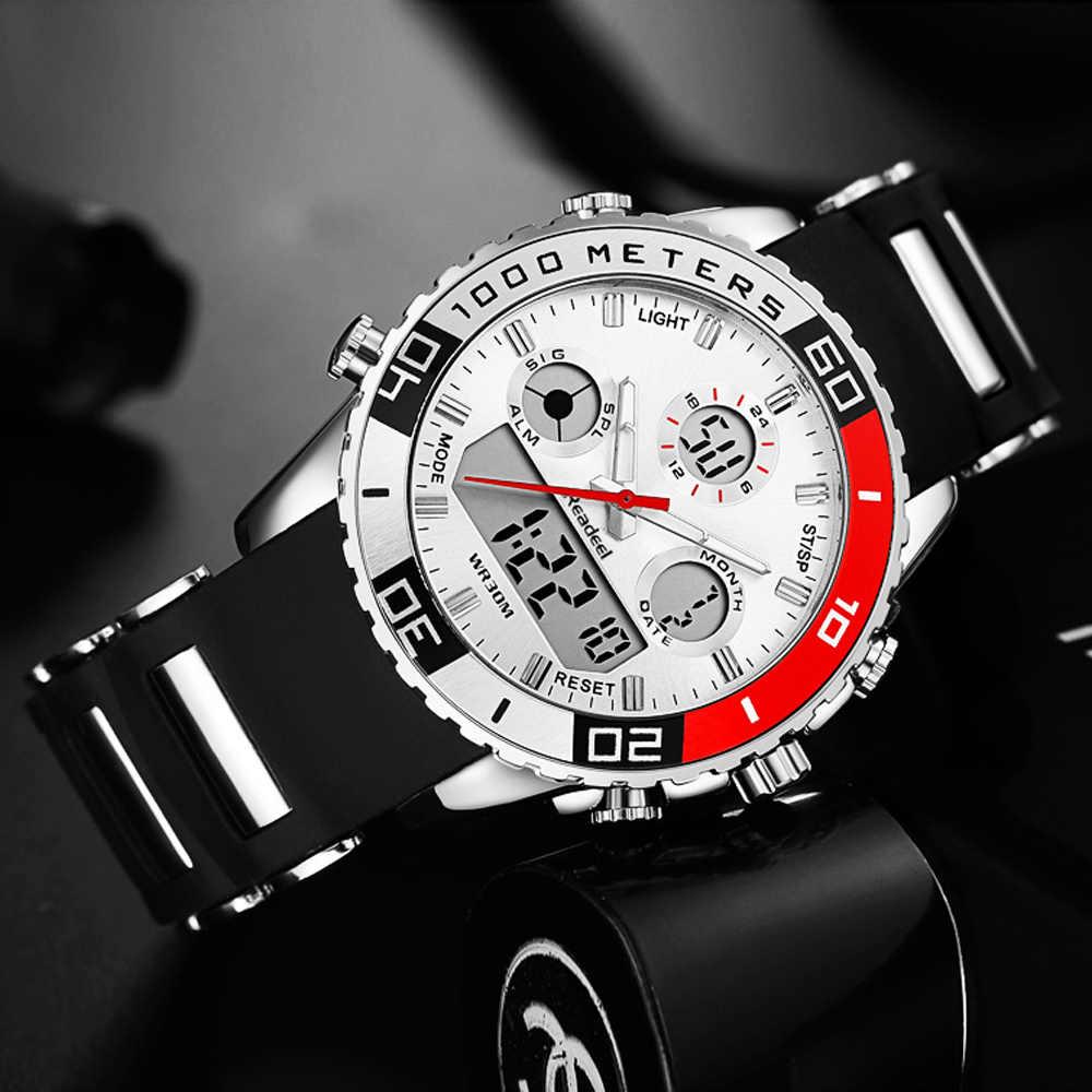 Top marque montres de luxe hommes caoutchouc LED numérique hommes montre à Quartz homme sport armée militaire montre-bracelet erkek kol saati