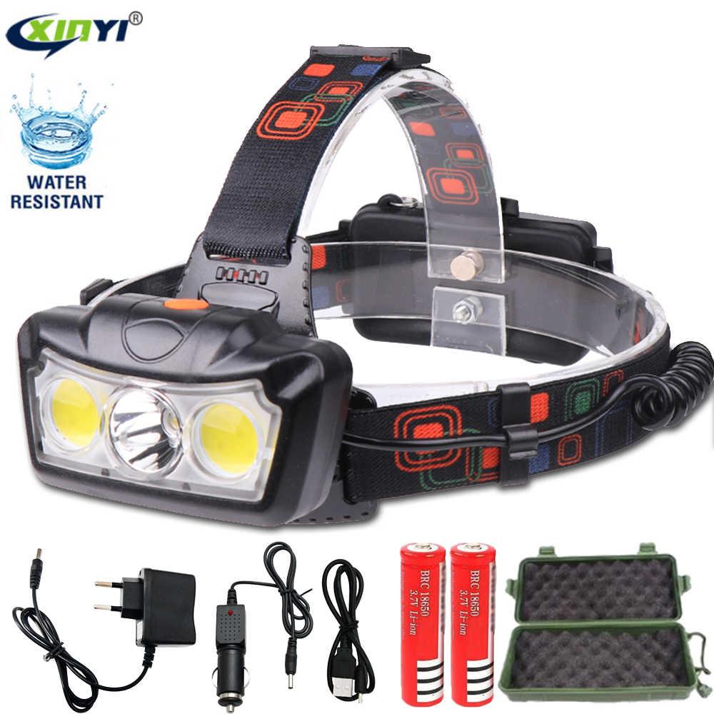 Dropshipping 32000LM LED faro T6 + faro LED COB linterna de cabeza uso 2*18650 batería