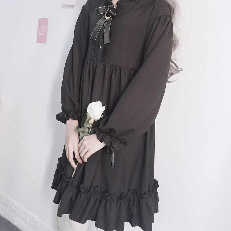 Lolita vestido de festa de natal vestido de halloween vestidos preto cintura alta botão kawaii lanterna completa manga