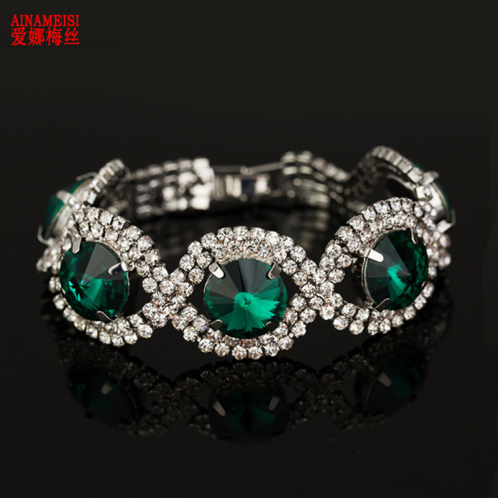 AINAMEISI 2019 Fashion Luxury Bracelets & Bangles for Women Wedding Gifts Friends Love Green Crystal Jewelry Bracelets Wholesale image