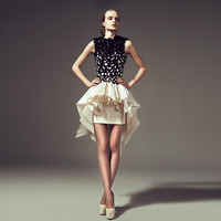 New Design Simple Fashion Mini Cocktail Dresses High Low Tiered Satin Lace Appliques High Collar Chic Short Party Prom Gowns