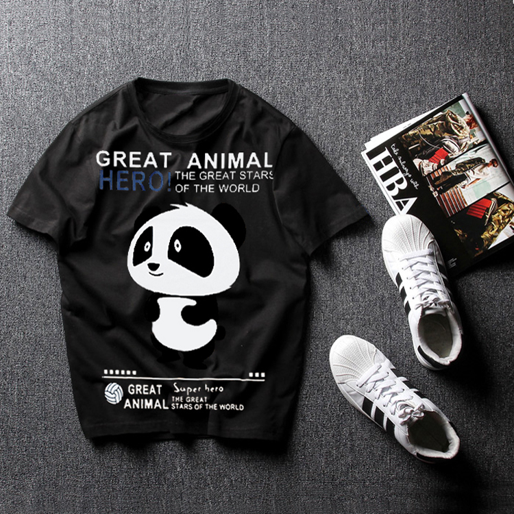 black Chinese style summer men Tees plus size 4xl 6xl 7xl 8XL cotton t shirt Casual o neck collar print panda shirt hiphop