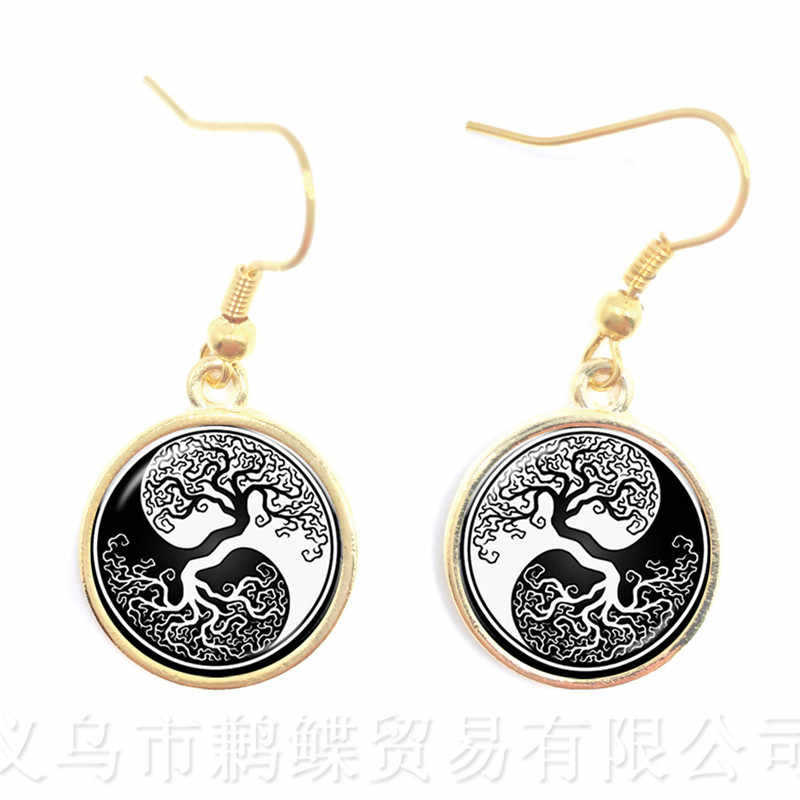 Black And White Yin Yang Earrings 16mm Glass Cabochon Yin Yang Jewelry Tree Of Life Drop Earrings Accessories