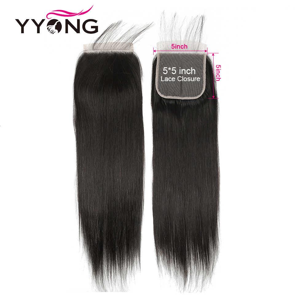 Yyong Hair 5x5 cierre con paquetes de 8-30 pulgadas paquetes rectos peruanos con cierre de pelo humano Remy Cierre de encaje con paquetes