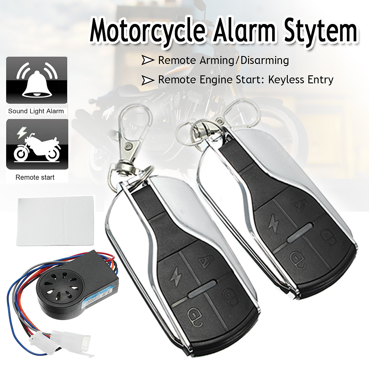 Security-System Anti-Theft-Alarm Remote-Control Scooter 48V-60V Motorcycle-Bike Safety