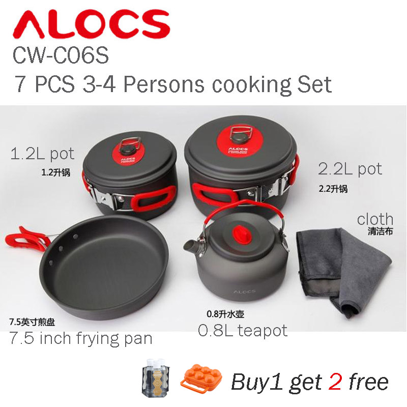 Alocs CW-C06S 7PCS Camping Cooking Set Outdoor 3-4 Persons Foldable with Carrying Bag alocs ac p03 outdoor foldable cutting chopping board white