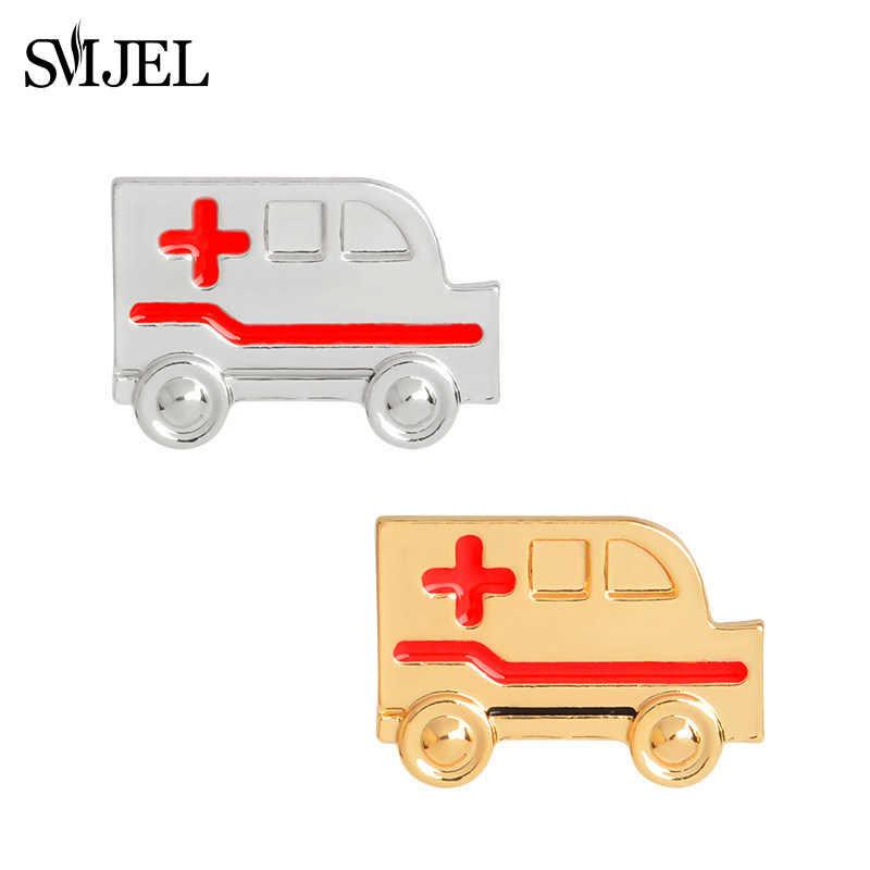 SMJEL медицинские ювелирные изделия для доктора скорой помощи Брошь Красный Крест булавки золотистый, серебристый, металлический автомобиль броши на лацкан булавка медсестры Выпускной подарок