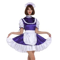 Sissy Girl Maid Frilly Purple Lockable Dress Crossdress Cosplay Costume