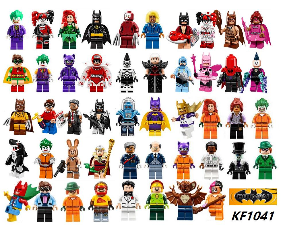 Building Block Super Heroes Red Hood Joker Riddler Poison Ivy Nurse Harley Quinn Penguin Dress the Batman Movie Kids Toys KF1041