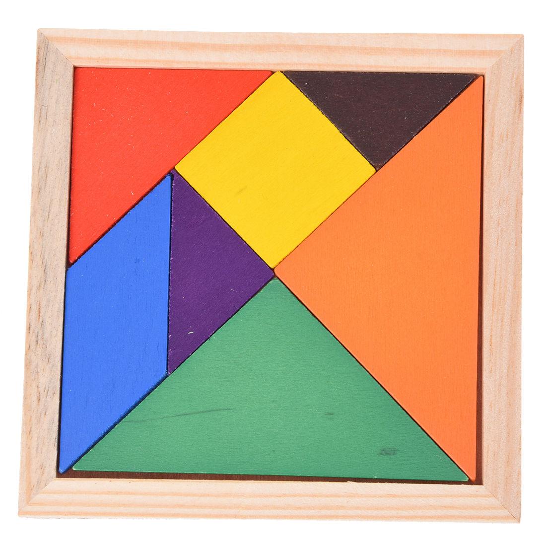 Educational Wooden Seven Piece Puzzle Jigsaw Tangram Brain