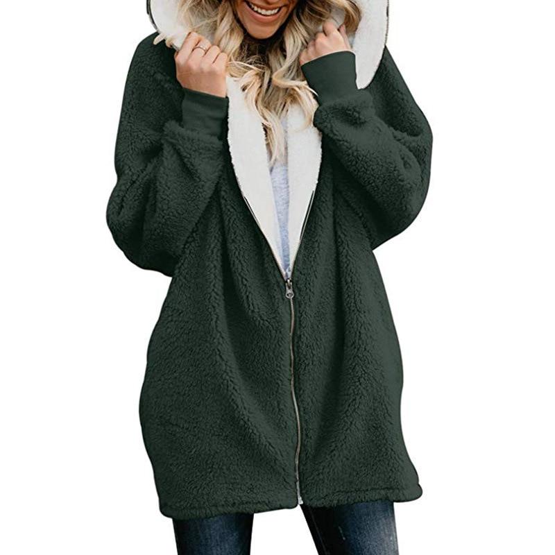 Cardigan green Polar Piel Capucha Suéter khaki Lana Blue Mujeres Streetwear  De Esponjosa Blue pink Largo dark ... 0158cb4dcc86