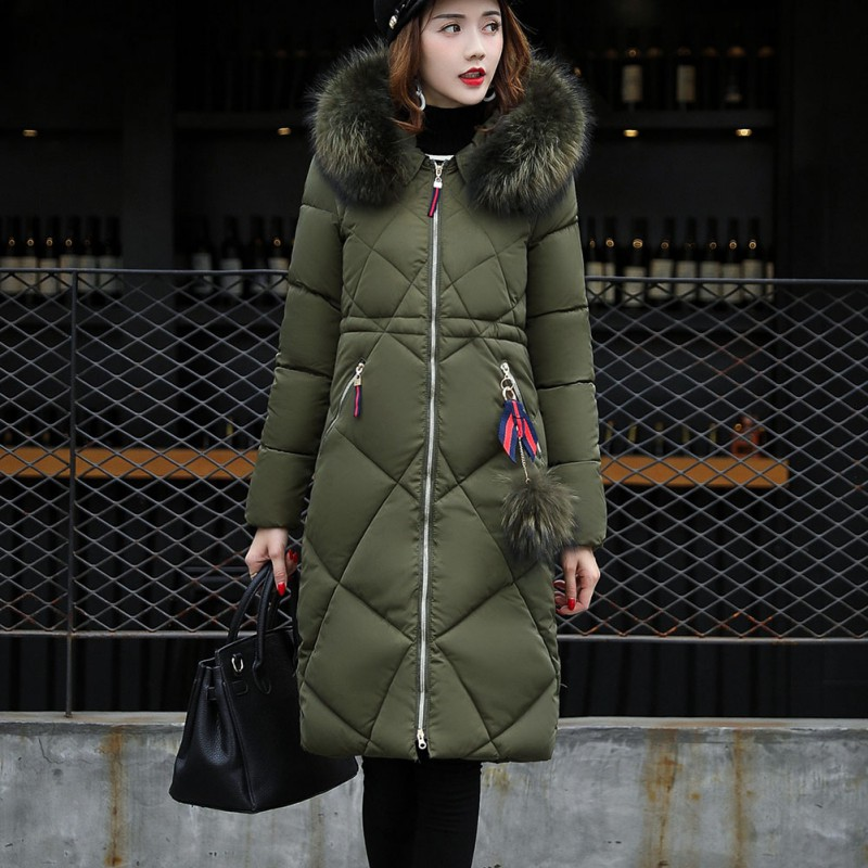Fashion Winter Women\'s Long   Down     Coats   Cotton Parka Fur Collar Hooded Long   Coat   Zipper Casual Warm Slim Female   Coats