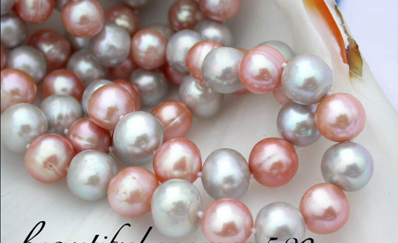 цена z1648 2row 11mm round gray pink fw pearl necklace AAA