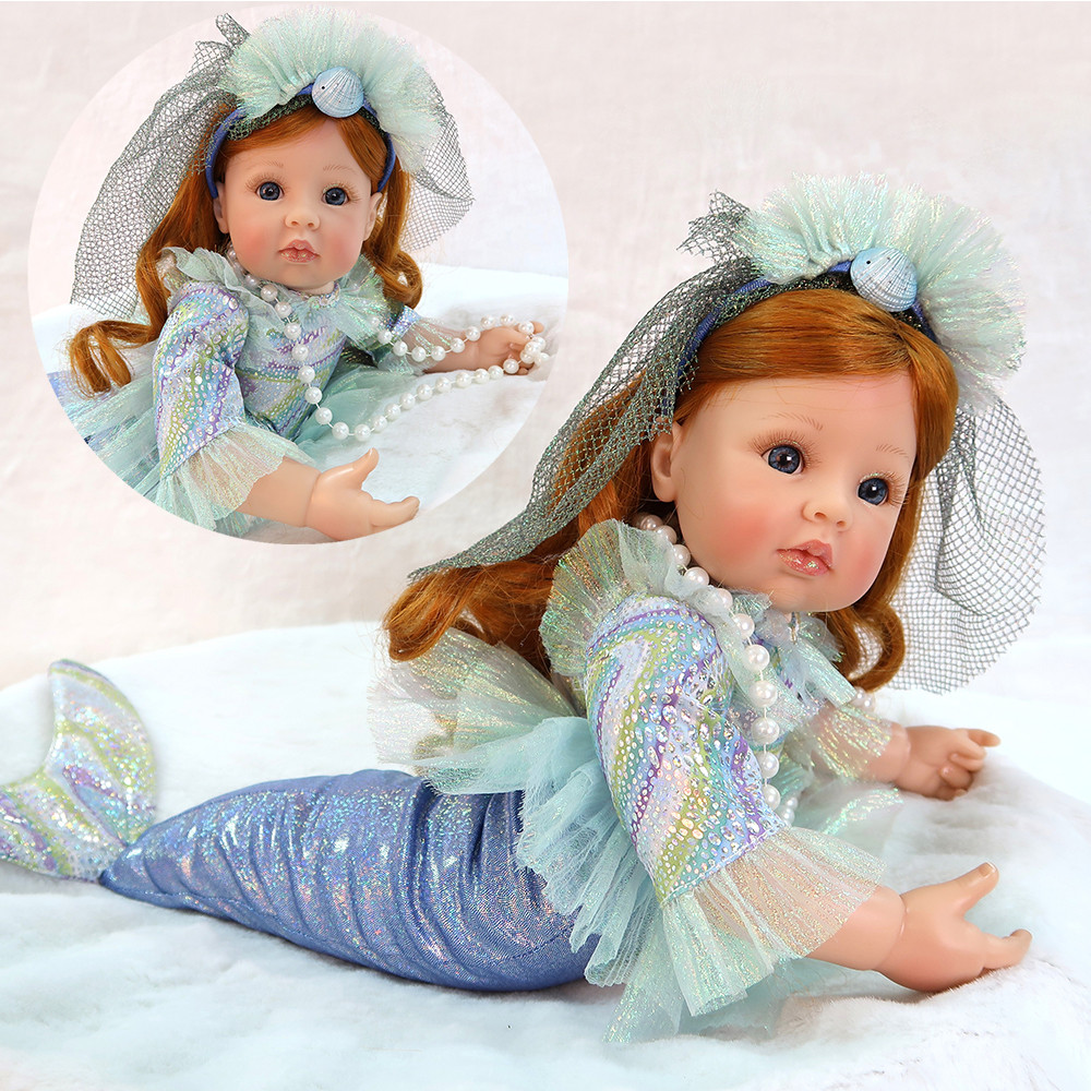 Adorable Little mermaid doll reborn vinyl silicone baby girl dolls 2458cm bebes reborn menina bonecas child gift toy dollsAdorable Little mermaid doll reborn vinyl silicone baby girl dolls 2458cm bebes reborn menina bonecas child gift toy dolls