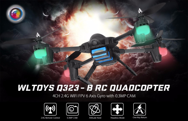 WiFi FPV rc drone Q323 with 0.3MP CAM or 2.0MP RC Drone 2.4G 4CH 6 Axis Gyro Altitude Hold RC Quadcopter RTF remote control toy mjx x601h wifi fpv 720p cam air pressure altitude hold 2 4ghz app control 4 channel 6 axis gyro hexacopter 3d rollover