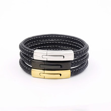 New Design Genuine leather Stainless steel magnet clasp bracelet