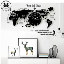 Large World Map Wall Clock Simple Nordic Modern Geometric Creative Decoration Home Decor