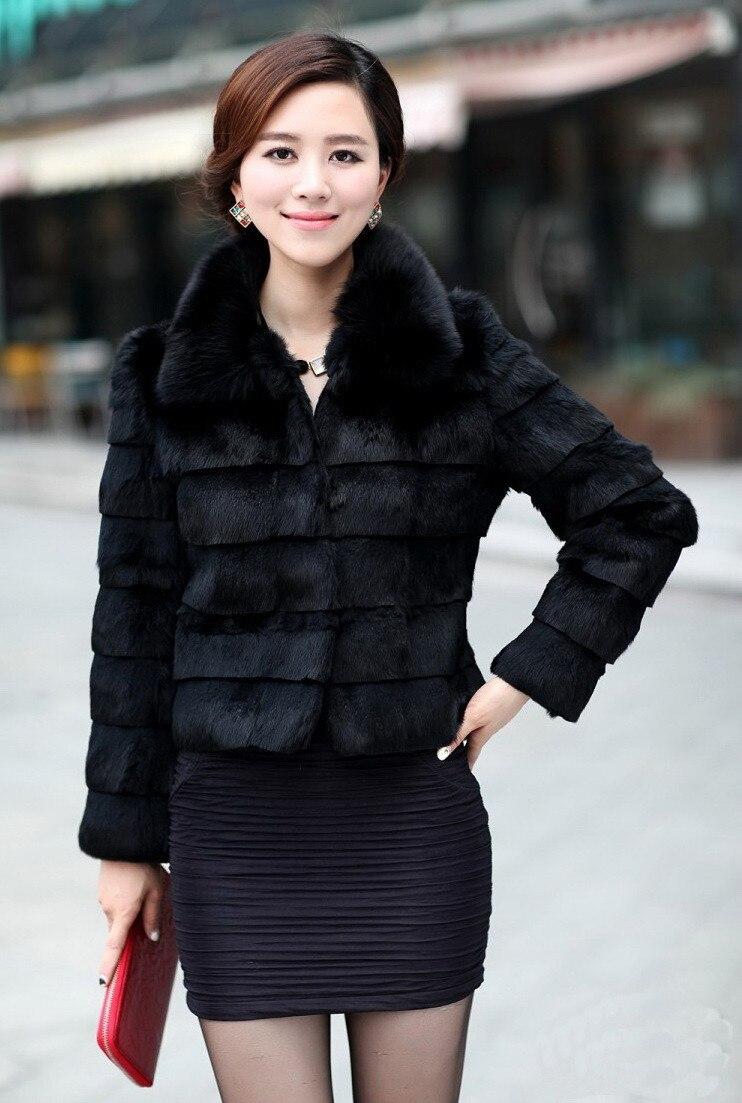Зимнее женское пальто из искусственного меха кролика воротник из искусственного меха лисы 4XL 5XL размера плюс толстое меховое Болеро в полоску короткая черная куртка - Цвет: Черный