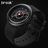 BREAK Luxury Men Cool Sports Watches Rubber Strap Casual Fashion City Passion Waterproof Quartz Geek Creative