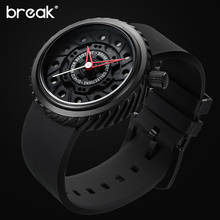 BREAK марка роскошные мужчины прохладный город творческий повседневная мода водонепроницаемый каучуковый ремешок спорт кварцевые часы мальчик подарок